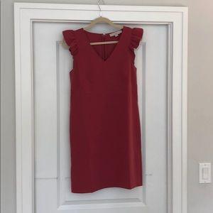 Ruffle Cap Sleeve Shift Dress